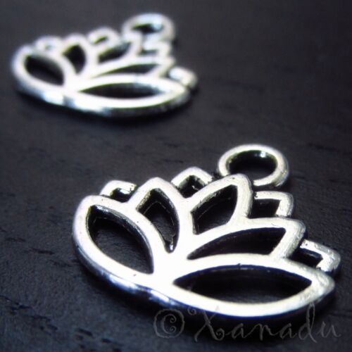 Lotus Flower 17mm Wholesale Silver Plated Charm Pendants C5771-10 20 Or 50PCs