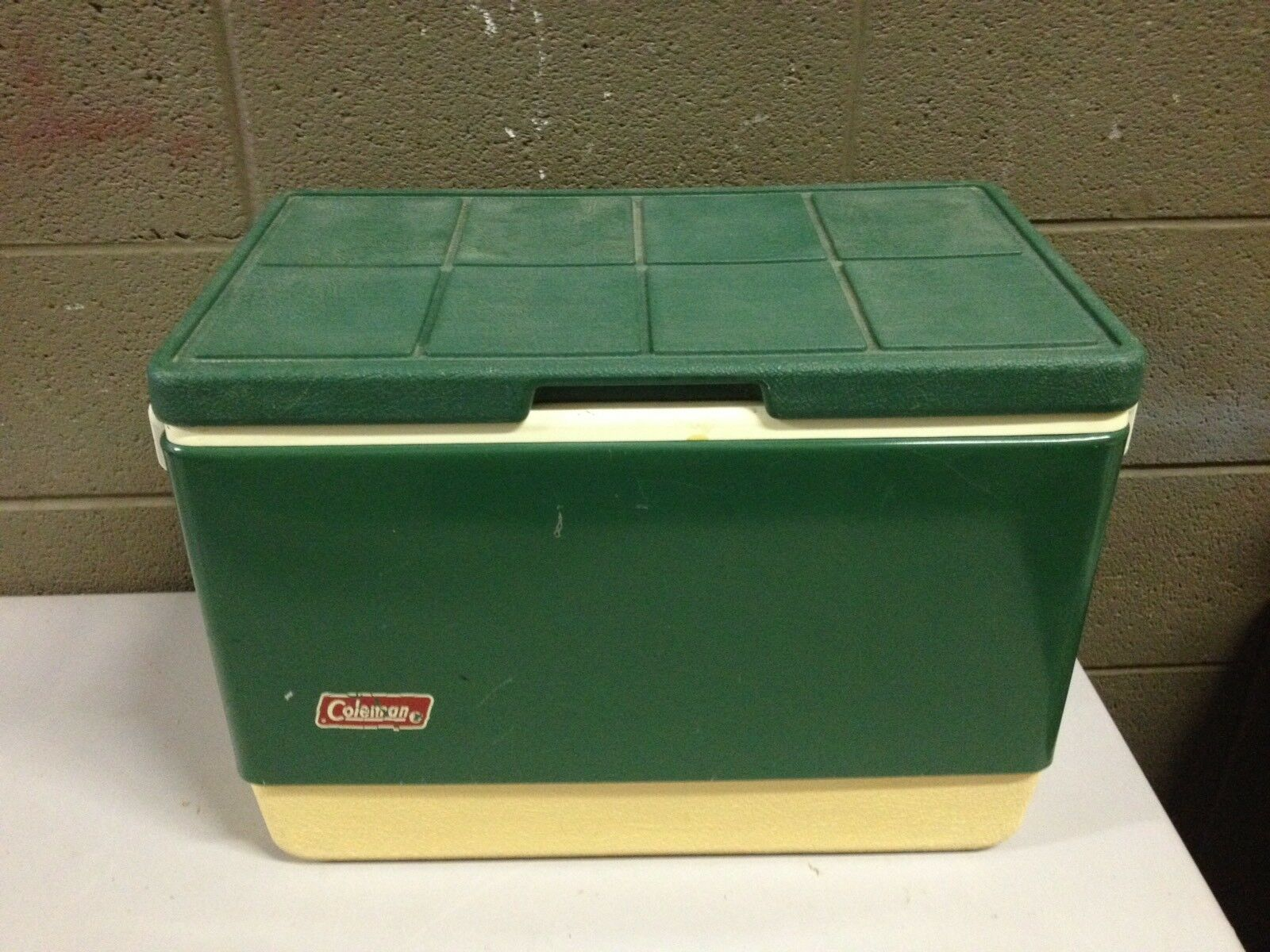 Vintage Coleman Green Metal Band Ice Chest Cooler Box (c21)