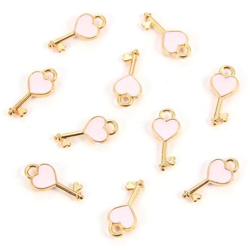 Gold Enamel Drop Oil Love Heart Key Charm Pendant DIY Necklace Jewelry Accessory