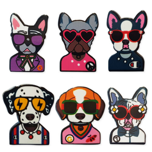 6pcs Funky Dogs Acrylic Flatback Cabochons Embellishment Decoden Craft