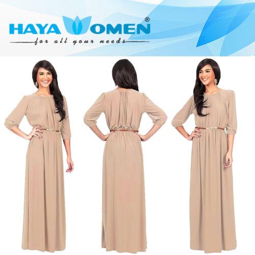Le donne signore Stretch Maxi Dress Cintura Incluso Taglie Forti Abaya UK STOCK