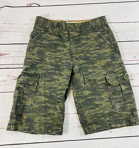 Levis Boys Green Camo Cargo Shorts Size 12 Reg W 27.5 Camouflage Pockets