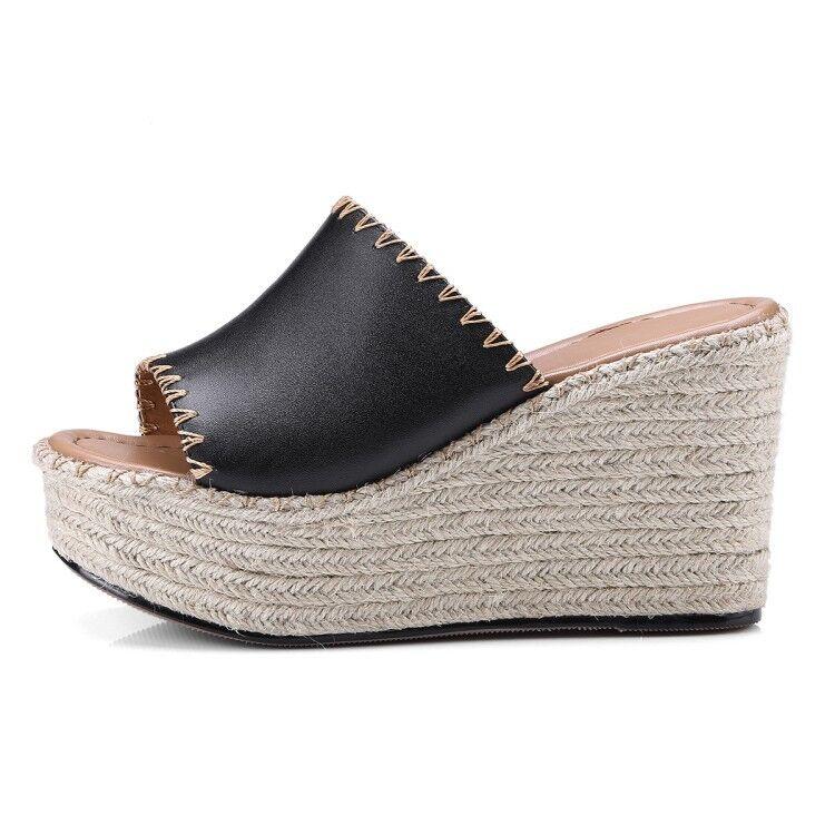 donna Peep Peep Peep Toe Mule Slipper Flip Flop Platform Wedge Heel scarpe Sandal Dimensione New 946a8b