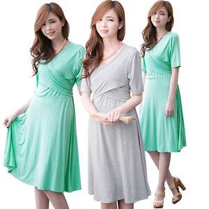 Image Is Loading Spring Summer Maternity Clothes Nursing Dress Solid Breastfeeding