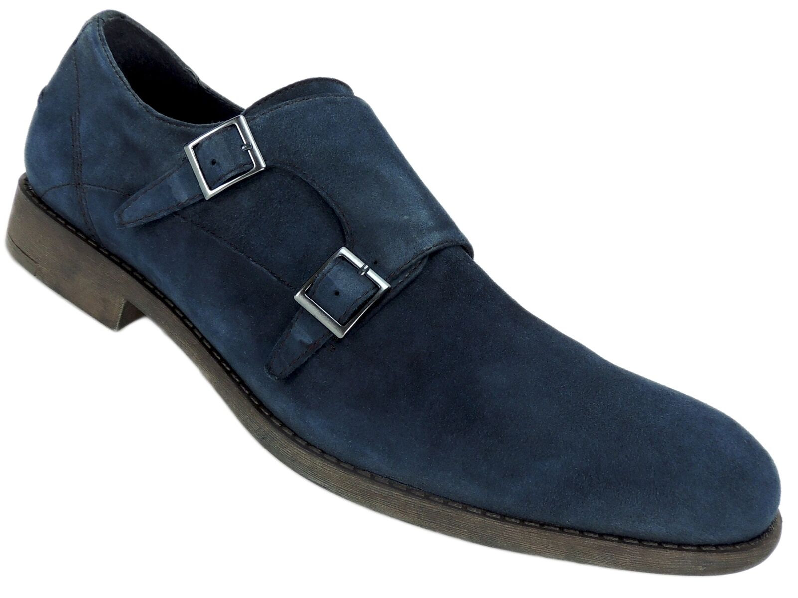 Kenneth Cole Reaction Men's Design 20644 Monk-Strap Loafers Navy Suede Size 13 M