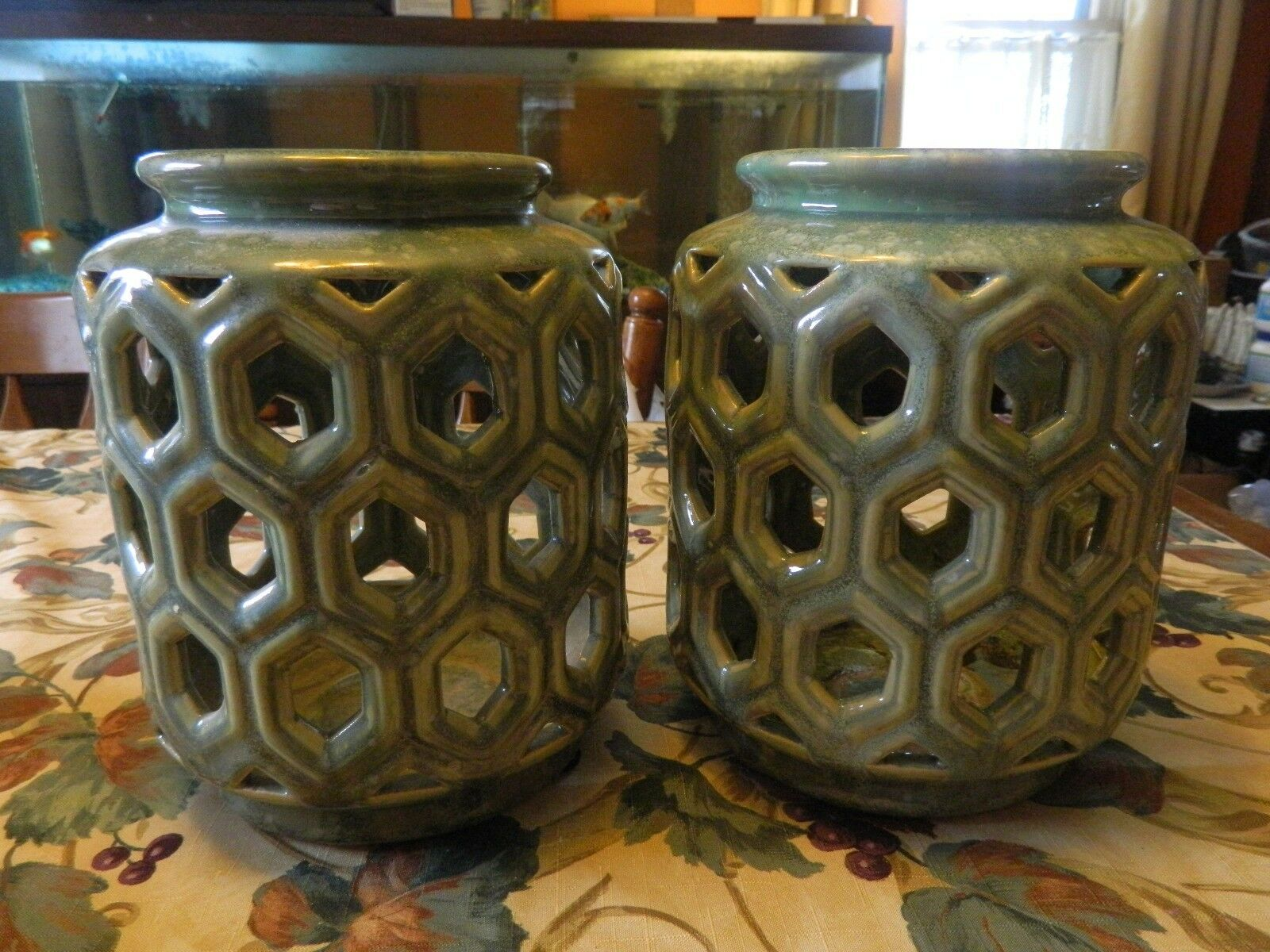 2 Green Glazed Wilshire Circle Lanterns Ceramic Outdoor Patio Candle Holders