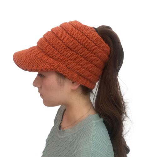 Women/'s Woolen Baseball Cap Messy Bun Ponytail Beanie Winter Warm Knit Hat CHZ