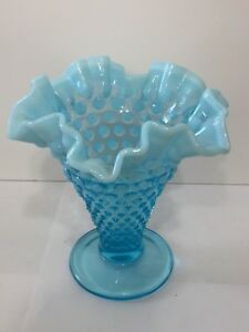 Vintage-Fenton-Aqua-Blue-Opalescent-Hobnail-Vase-5-5-034-Tall-Ruffled-Edges