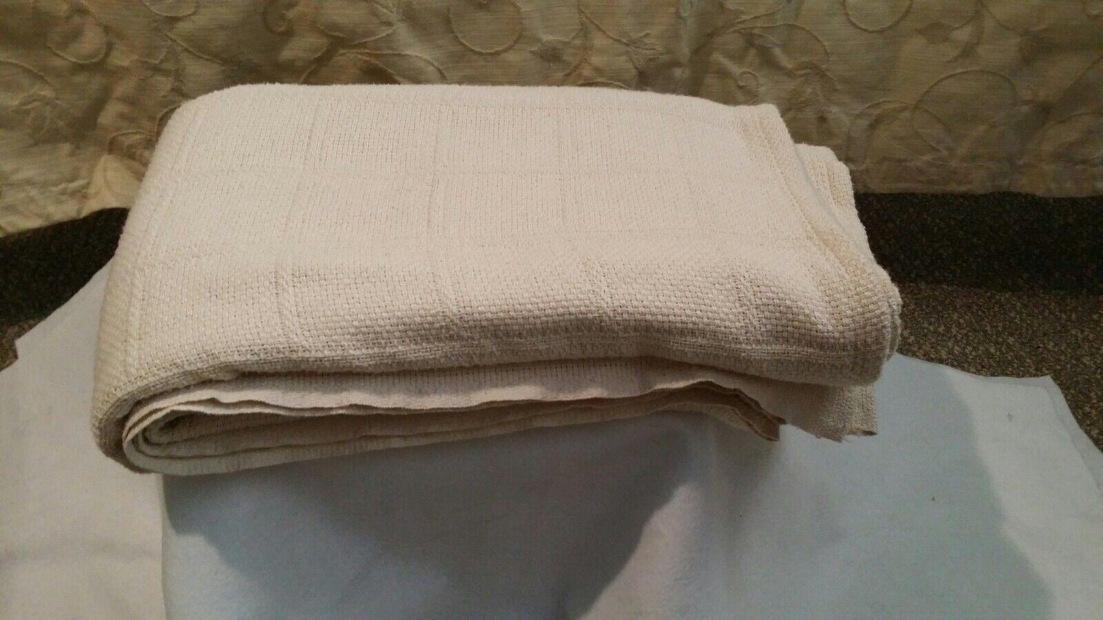 Ralph Lauren Blanket Throw QUEEN Beige 100% Woven Cotton 90  X 90  VINTAGE