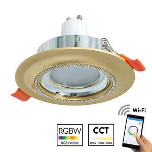 Strahler-Smart-Vertieft-75mm-Gold-Glanz-LED-Wifi-5W-RGB-RGBW-Cct-Alexa-Google