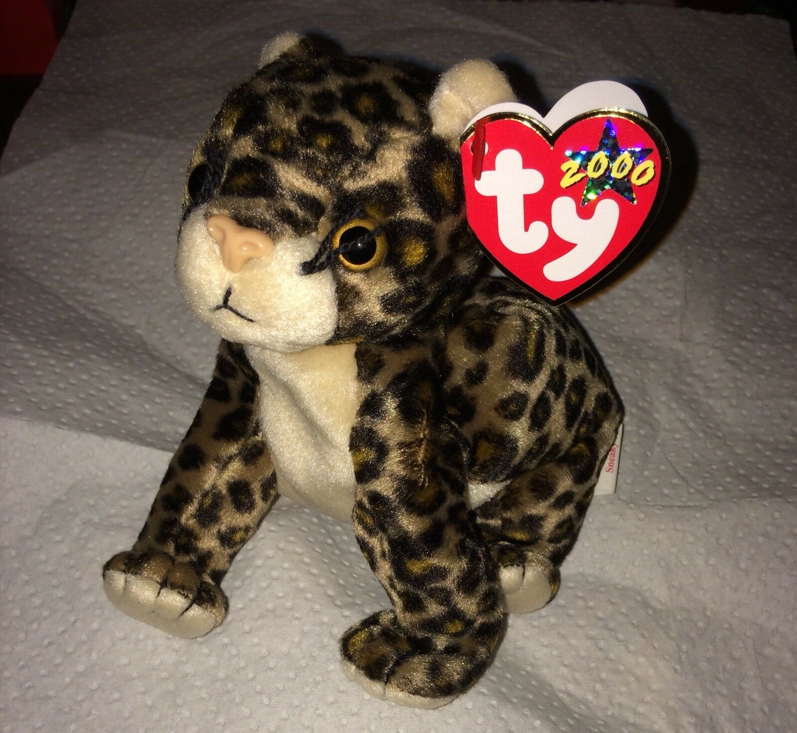 VERY RARE  Sneaky 2000 TY Beanie Baby with with with Errors on Hang and Tush Tags  3c3141