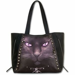 Spiral-Direct-Black-Cat-With-Pentagram-Gothic-Witch-Black-Studded-Tote-Bag