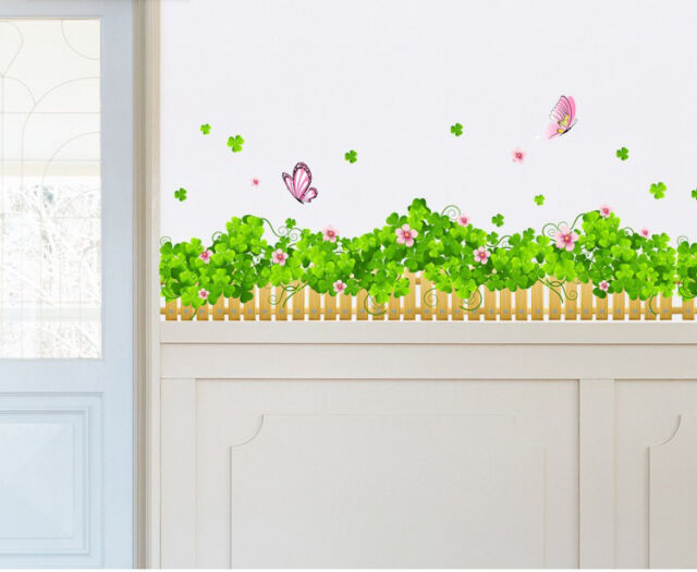 Colourful Butterfly Grass Wall Stickers Art Decal Paper Wall Border Home Decor