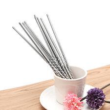 Chopsticks 5 Pair Metal Reusable Korean Chinese Stainless Steel Chop Sticks