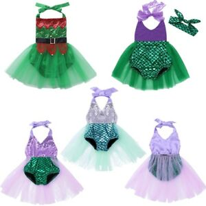 4e3ae19b12 Infant Baby Girl Mermaid Romper Tutu Skirt Outfit 1st Birthday Party ...