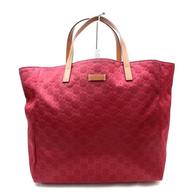 870cafa5f194 US SELLER Authentic Gucci Tote Bag Red Nylon Women Handbag 100GTO134 ...