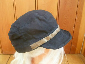 MONSOON ACCESSORIZE SOFT BLACK BENDY BRIM PEAKED  HAT CAP FAUX LEATHER BAND NEW