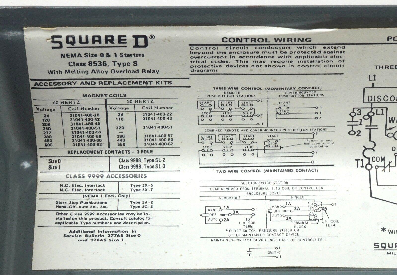 Square D 8536sbg2 230v 3hp 8536sbg2v06 Ac Magnetic Nema 0 Motor 277 Volt Light Wiring Diagram In Addition Hoa Switch Starter Cs Ebay