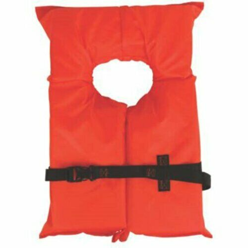 Orange Adult Life Jacket Coleman Stearns Type II US Coast Guard-approved Durable