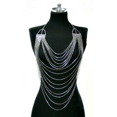Crystal Lingerie chain bra rhinestone necklace halter burlesque bridal body