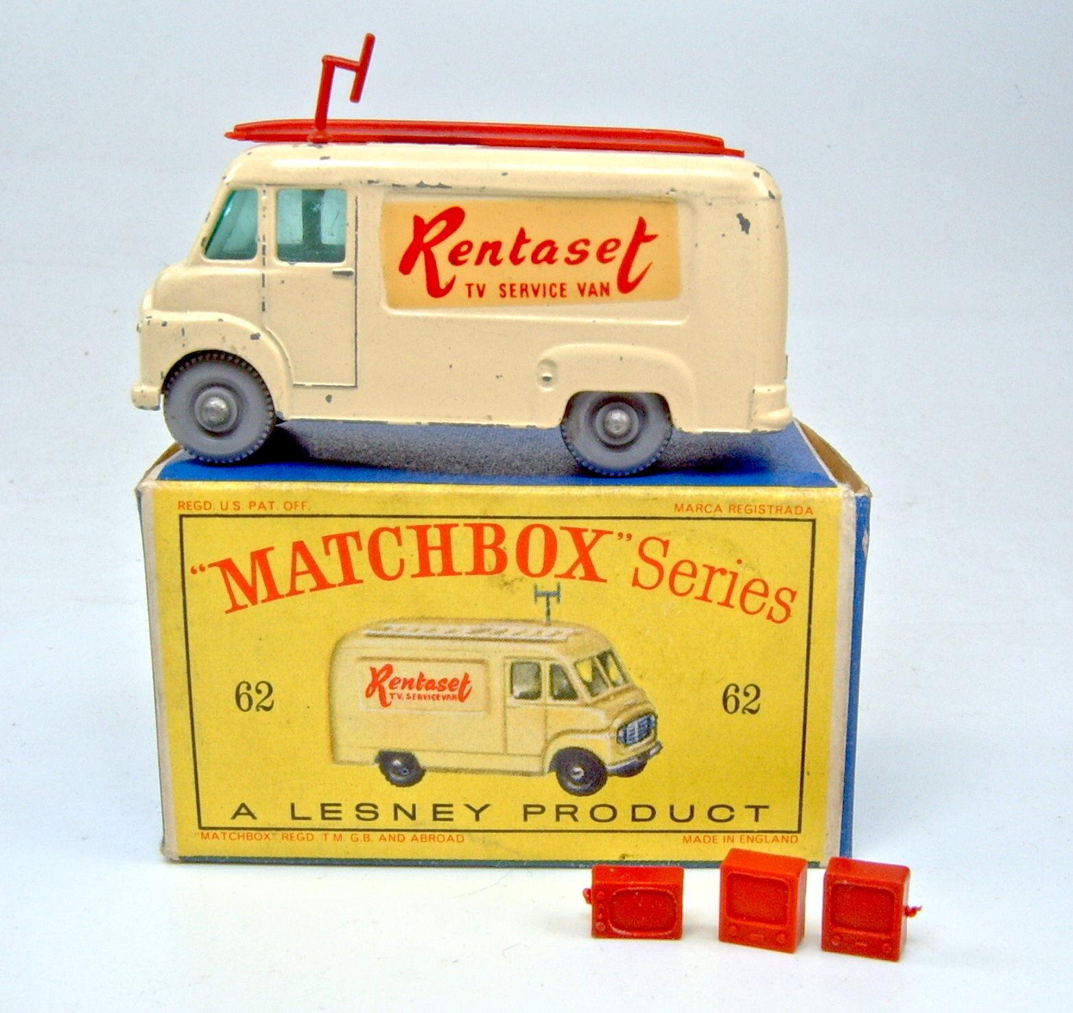 Matchbox 1-75 RW 62B TV Service Van  Rentaset  GRAUE Räder in Box  | König der Quantität