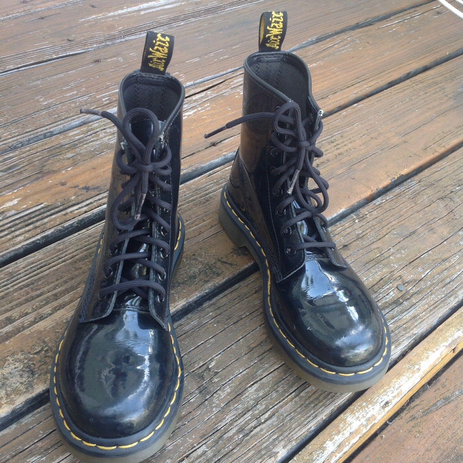 Dr Martens Docs Black Patent Leather Combat Moto Boots Womens 6 EU 37 1460 shoes
