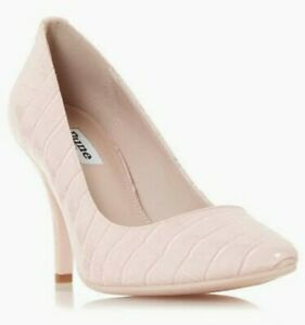 BNWD DUNE LONDON wmns Aeryn pink croc patent leather pointed toe pumps heels US8