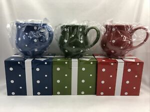 3 - Temp-tations 16oz Polka Dot Stoneware Mug - Green, Red, Blue w/Gift Boxes