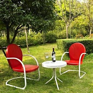Image Is Loading Bistro Table And Chairs Retro Metal Red 3