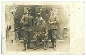 Antique-WW1-military-RPPC-postcard-portrait-4-German-soldiers-smoking-drinking