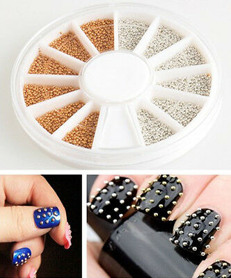 pretty Gold&Silver ALLOY Nail Art 3D Decoration Stickers Metallic Stud WHEEL JTV