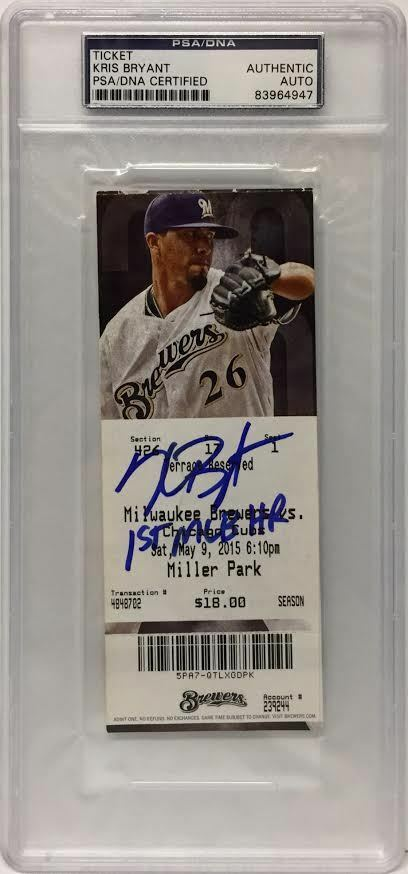Kris Bryant Signed Baseball Ticket