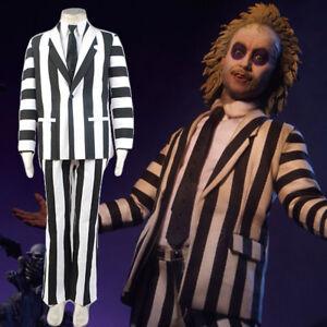 Cosplay Adult Beetlejuice Costume Michael Keaton Black White Blazer Suit Outfit Ebay