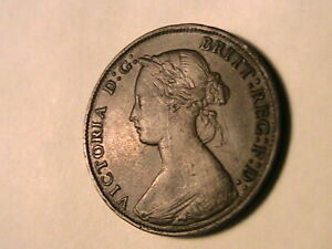 1865-GREAT-BRITAIN-Half-Penny-Ch-XF-AU-Original-Victoria-1-2P-British-UK-Coin