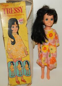 Vtg-1970-Sears-Exclusive-19-034-Ideal-Tressy-Crissy-Family-Doll-Black-Hair-Blue-Eye