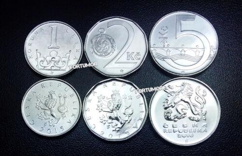 5 KORUN 2015-2016 CZECH REPUBLIC UNC SET OF 3 COINS 1-2