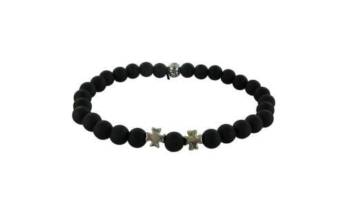 Bracelet perles homme noir fashion shamballa gourmette ajustable