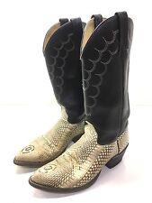 "J CHISHOLM ""KING COBRA HEAD CUT"" SNAKE SKIN Exotic Western Cowboy Boots Men 8.5D"