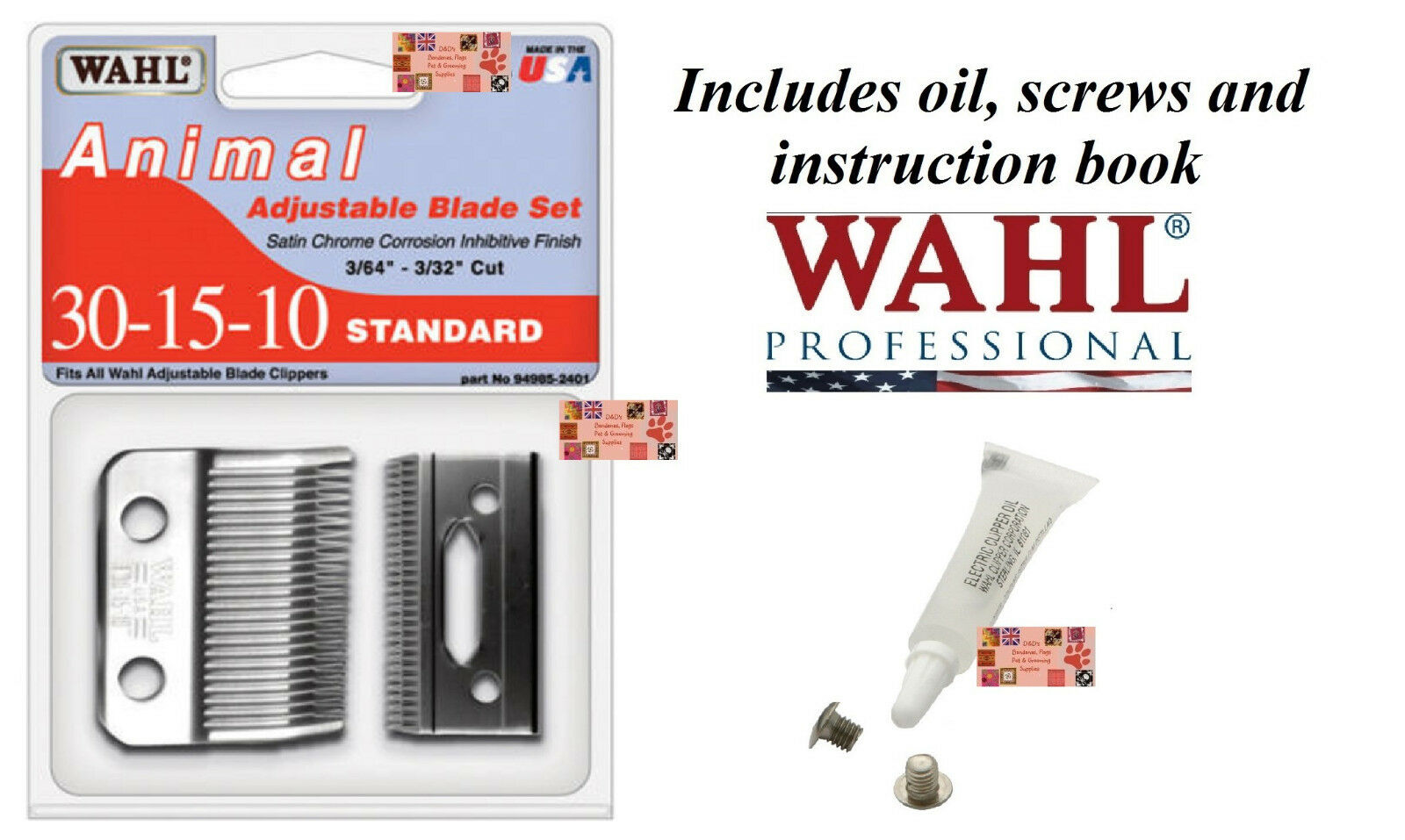 Wahl 30-15-10 REPLACEMENT BLADE SET For Stable Show Kennel Pro,U Clip Clippers