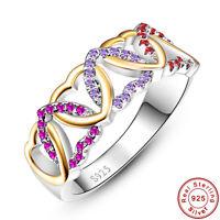 Gemstone Ruby & Amethyst & Garnet 100% 925 Sterling Silver Ring Size L½ N½ P½ R½