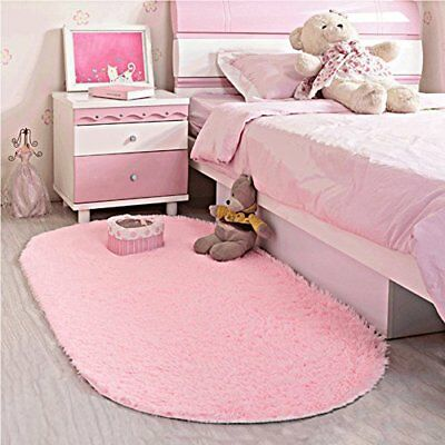 Pink Shaggy Rug Soft Children Room Mat Modern Area Home Decor S Nursery New 713653513079 Ebay