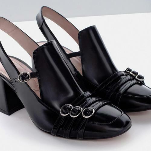 BNWT ZARA HIGH HEEL SLINGBACK BLACK SHOES WITH BUCKLE EU40-41 EU40-41 EU40-41  Ref. 7213 001 c363c8