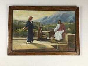 Antique-Original-1936-Signed-JESUS-Framed-Pastel-Drawing-Painting-A-Voigts