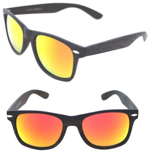 Men/'s Women/'s Retro Horn Rimmed dark brown wood color Sunglasses Red Mirrored