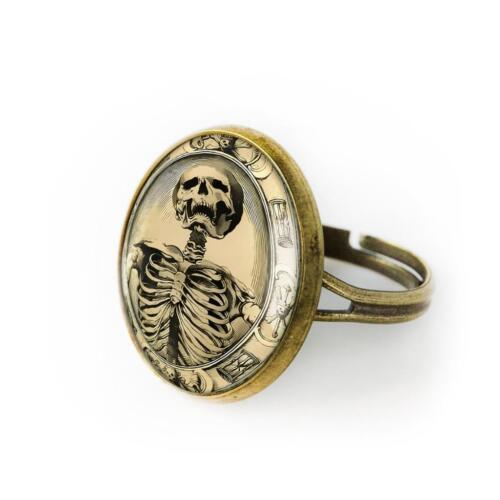 Victorian Memento Mori Skeleton Gothic Skull Handmade Sterling Silver Ring