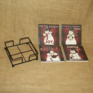 Set-4-Absorbent-Christmas-Snowman-Coasters-Primitives-By-Kathy