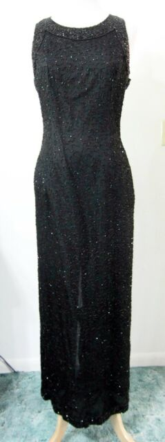 Laurence KAZAR M Evening Gown Black Fully BEADED Formal Dress Gala Ball