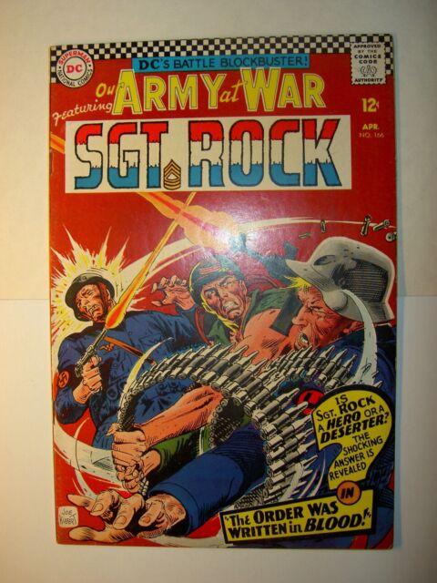 Our Army at War #161 GD+, #166 VG+ 1965, DC comics, Joe Kubert art, BV=$40
