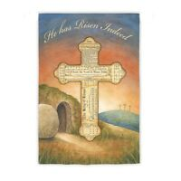 Easter Cross He Has Risen Indeed Tomb Rolled Away Religious Sm Holiday Flag Ds