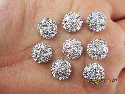 DIY NEW 30Pcs 12mm Silver  Mini Faceted Flatback RESIN Round Stone Buttons HOT 2